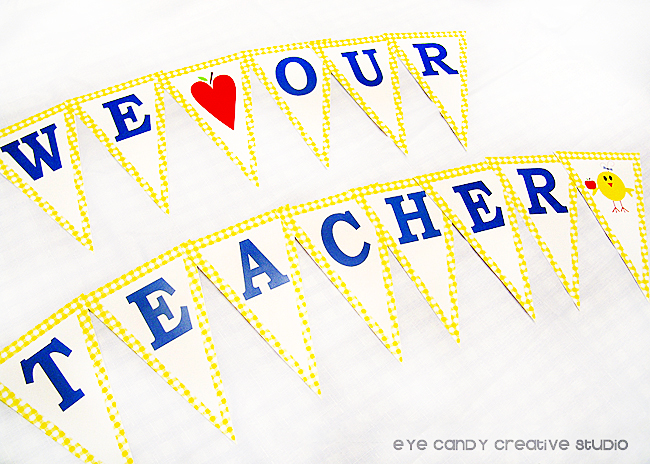 classroom banner, teacher appreciation banner idea, yellow ginghan, we heart our teacher