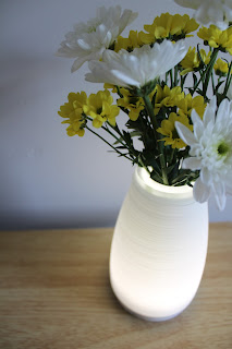 white light up vase