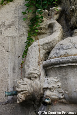 Detail of a dolphin of the Fountain of Nostradamus to Saint-Rémy-de-Provence