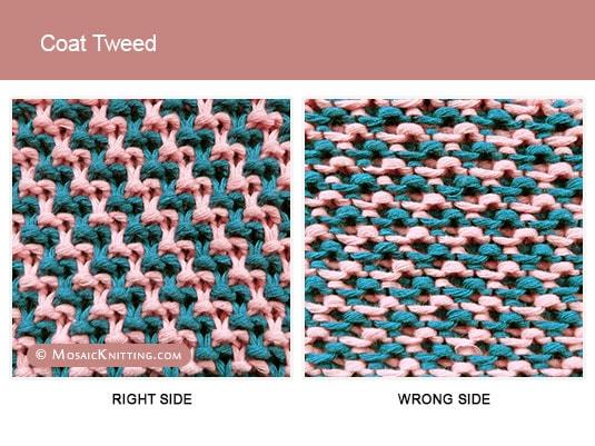 Coat Tweed Mosaic Knitting