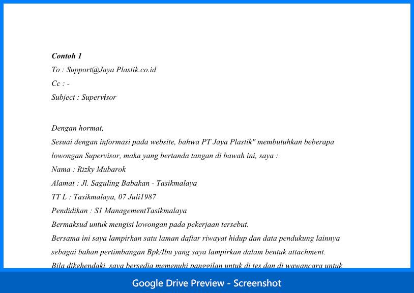 2 Contoh Surat Lamaran Email