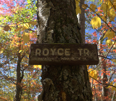 "Old sign that says ""Royce Tr. Metacomet-Monadnock Tr."""