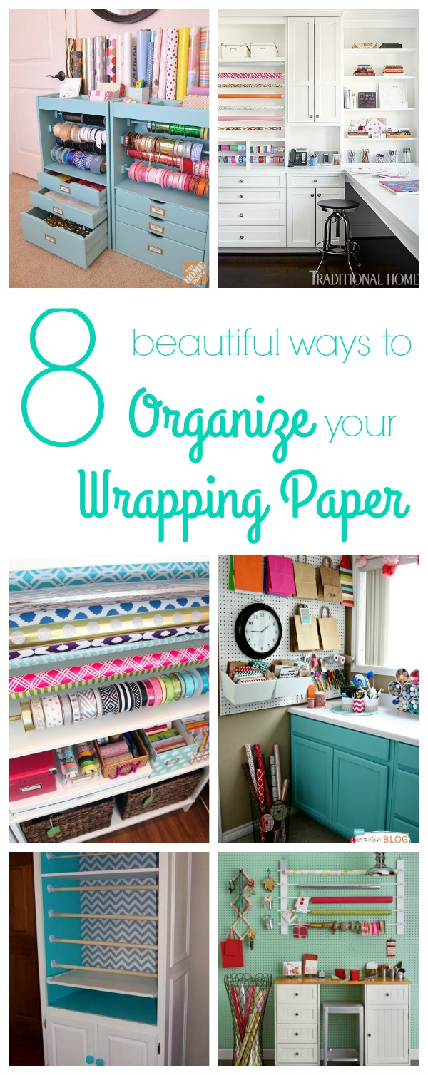 8 beautiful and creative gift wrapping paper organization ideas
