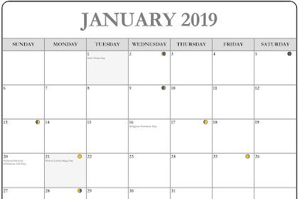 National Holiday Calendar January 2019