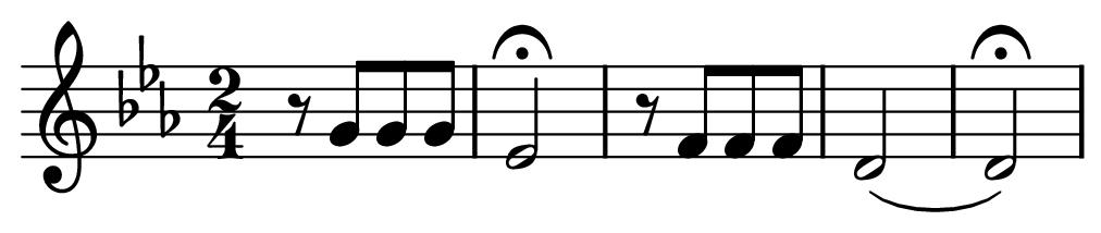 Partitura con los dos primeros compases de la quinta sinfonía de Beethoven