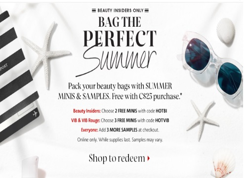 Sephora Bag of Perfect Summer Samples Promo Code