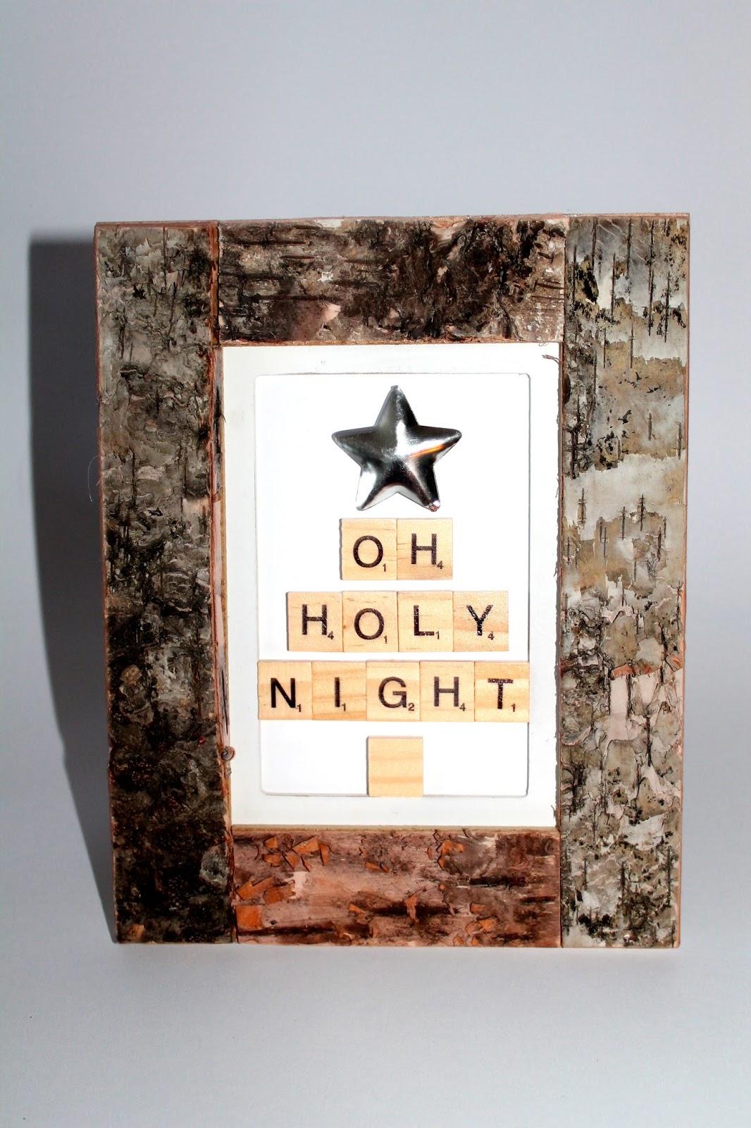 DIY, Basteln: Bild Oh Holy Night mit Scrabble Buchstaben in Weihnachtsdekoration und Wohndekoration - DIYCarinchen