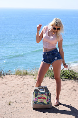 malibu beach, beach outfit, beach season, malibu state beach, point dume, southern california, shorts, crop top, sunglasses, round sunglasses