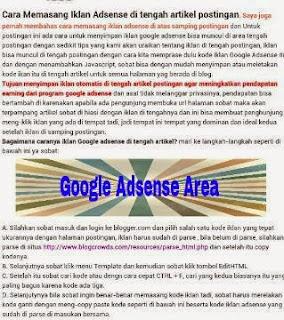 cara simpan iklan google adsense di tengah postingan