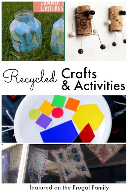 Recycled crafts & activities that are low cost, easy and fun! Great ideas for families & kids.