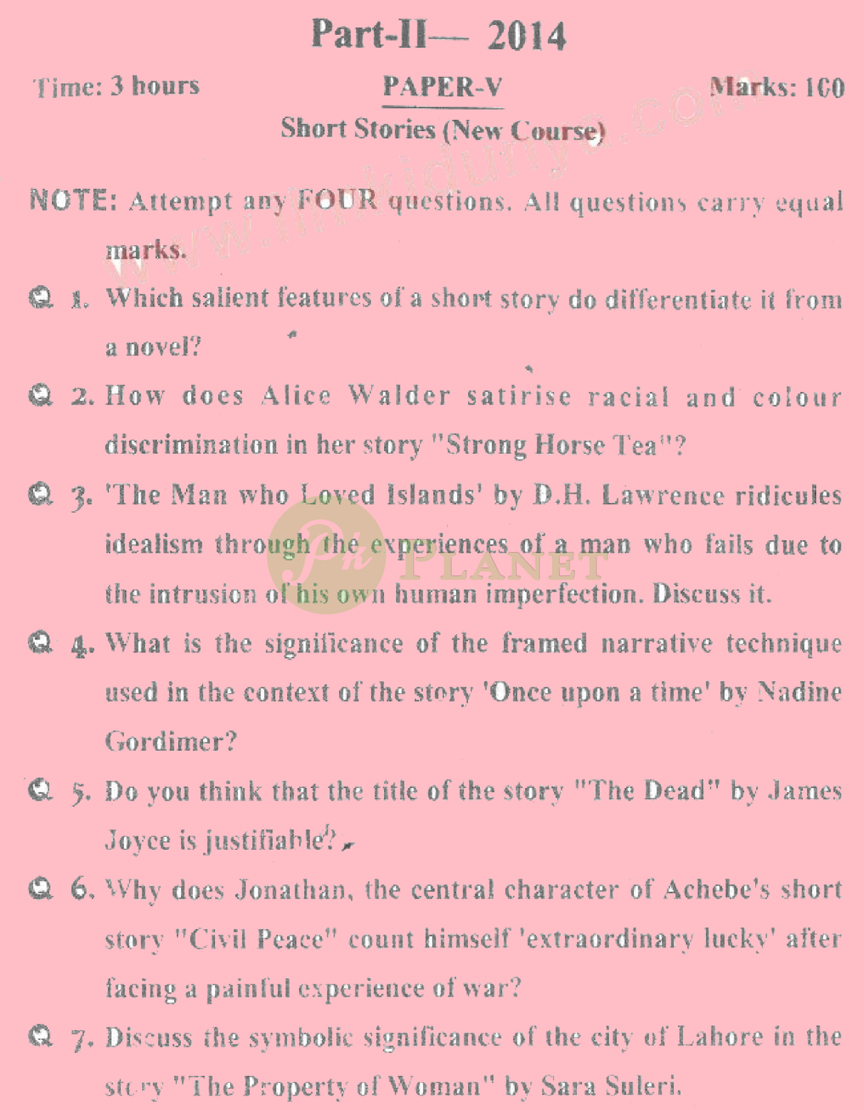 past papers of ma english part 2 punjab university 2014 short stories