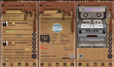 BBM Mod WM Batik Meler Brown Theme v3.3.1.24 Apk