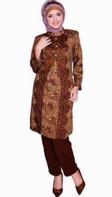Baju dress batik wanita casual hijab masa kini