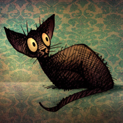 cats, black cats, cat art, orental cat art,
