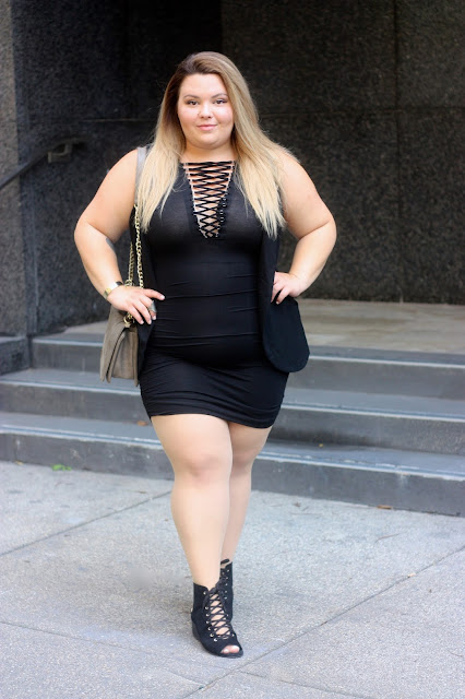 lace up dress, little black dress, plus size fashion, plus size fashion blogger, chicago fashion blogger, natalie craig, natalie in the city, forever 21 plus, forever 21 contemporary, sexy dress, fatshion, curvy blogger