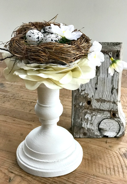 Candlestick Bird's Nest Decor with rustic wooden column