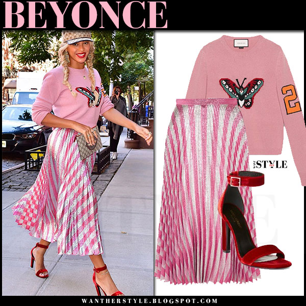 Beyonce in pink butterfly gucci intarsia sweater, pink metallic pleated gucci midi skirt and red velvet sandals saint laurent grace what she wore