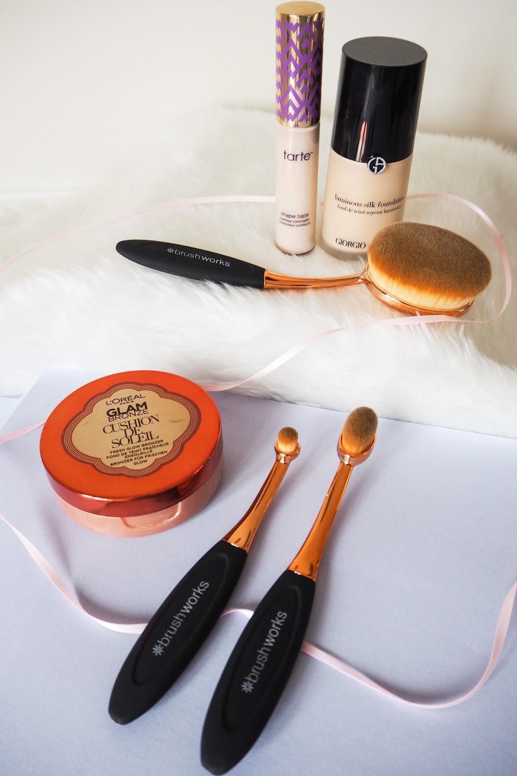 Makeup brushes and makeup set up for a photo