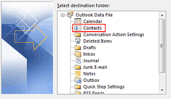 contacts destination folder