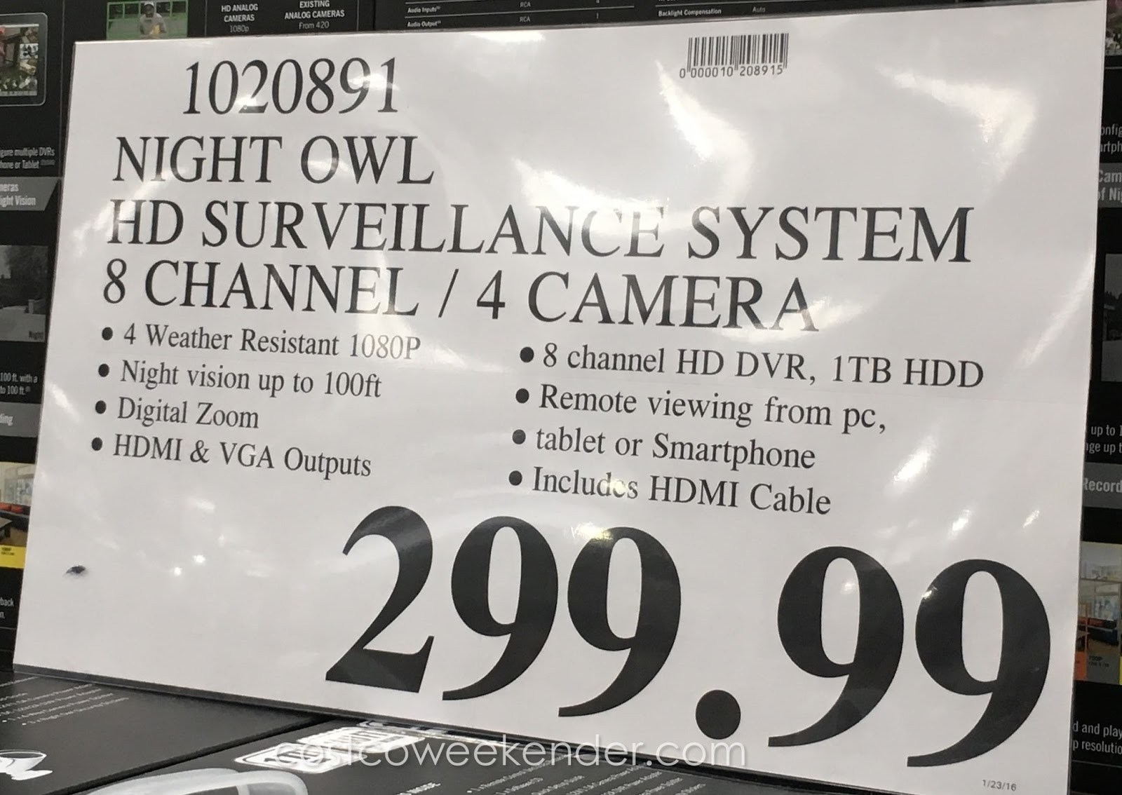 Night Owl C 841 A10 Hd Video Security System Costco