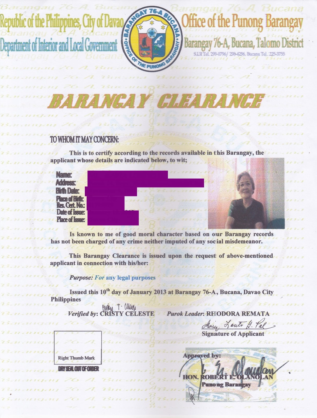 Barangay Clearance Example Image Gallery Hcpr