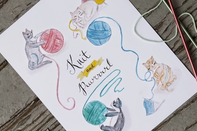 knit and puuuurl cats watercolor art print from wacky tuna on etsy via va voom vintage