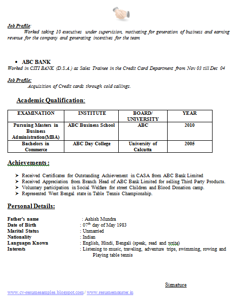 on table format for resume received status updates