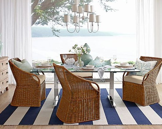 Wide Striped Blue and White Rug Dining Room