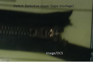 Defective zipper
