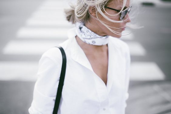 neck scarf bandana white blouse summer style