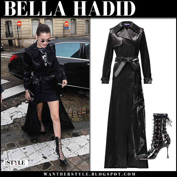 Bella Hadid in black trench coat dress and black lace up boots liudmila drury paris fashion week outfits january 22
