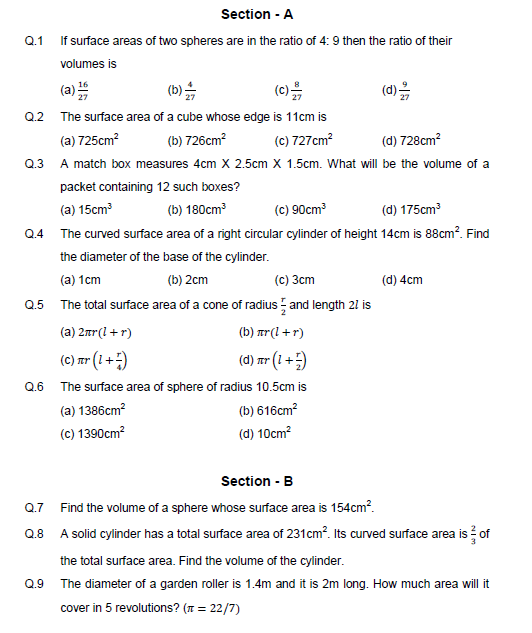 formula sheet of mensuration,surface area,volume ,cone,cylinder,cuboid,cube,
