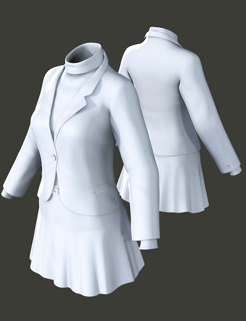 Blazer and Flare Skirt for Genesis 3 Female