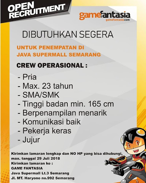 Lowongan Kerja Game Fantasia javamall Semarang