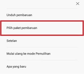 Pilih paket pembaruan Redmi 4A