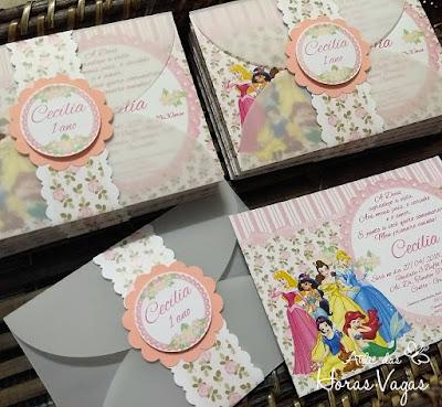 convite de aniversário infantil artesanal personalizado princesas disney floral delicado rosa jardim encantado 1 aninho menina
