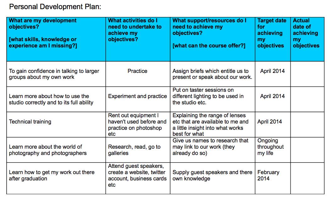 Professional Development Planning Template professional – Personal Development Portfolio Example