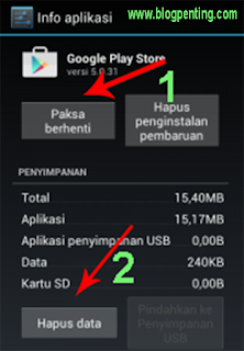 Menghapus data google playstore