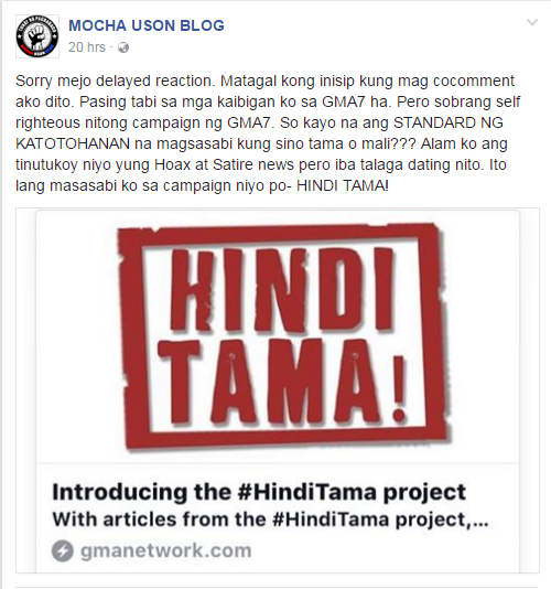 #HindiTama Mocha Uson blog post