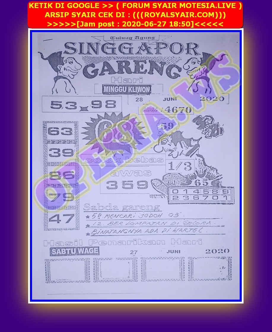 Kode syair Singapore Minggu 28 Juni 2020 3