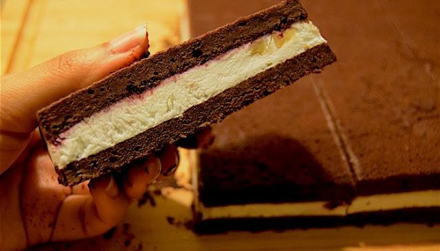 chocolate cake with ice cream inside