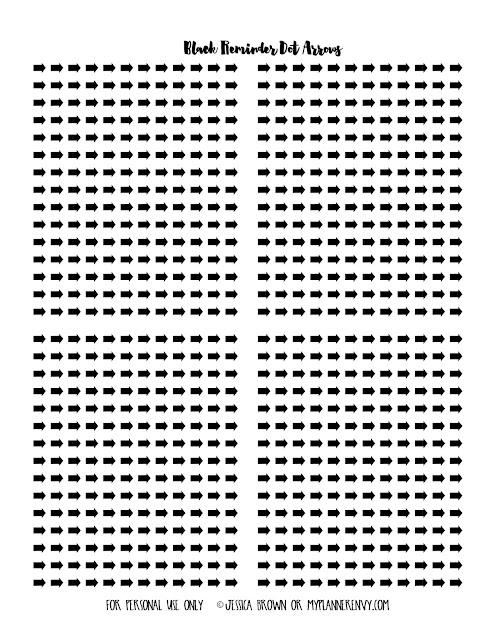 Free Printable All Black Reminder Dot Arrows on myplannerenvy.com