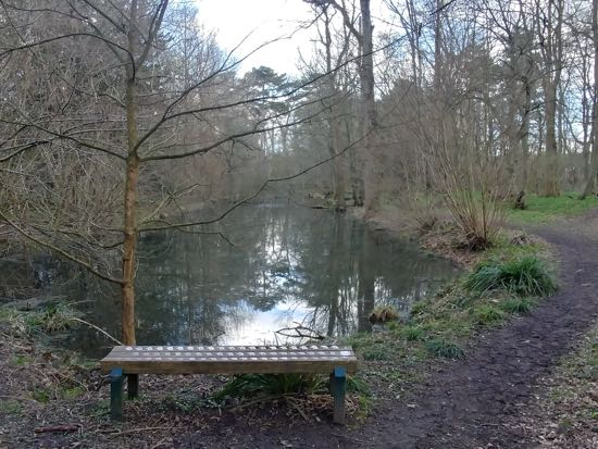 Photograph of the canal in Gobions today with one of the dog memorial benches in front Image by Hertfordshire Walker released under Creative Commons BY-NC-SA 4.0