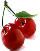 Foto de la fruta cereza con hoja