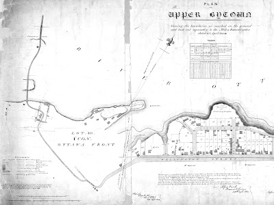 1845 Plan of Upper Bytown Shewing the boundaries as marked on the ground and laid out agreeably to the M. G. & Board's order, with a boundary line added 1848 showing the northern limit of the Sparks property (Lot C, Concession C). Wellington Street is laid out on the right side of the map, with Upper Town lots and building outlines drawn north of it (between modern day Bronson and Bank). South of Wellington Street it just says Mr. Sparks and Kent Street is vaguely drawn. At the west end of Wellington, just before modern day Bronson, the road turns southwest and begins to narrow to a small lane, before reaching Pooley's bridge (the waterway underneath it not being drawn in) and then extending west as a narrow ribbon toward the Chaudiere crossing.