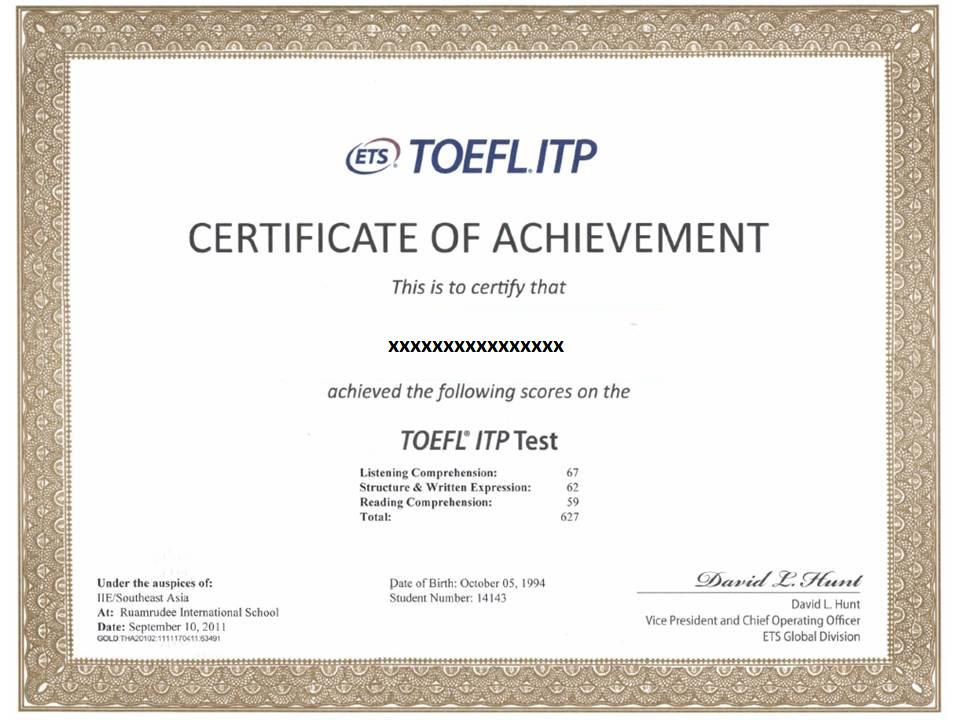 Sample Sertifikat TOEFL IBT