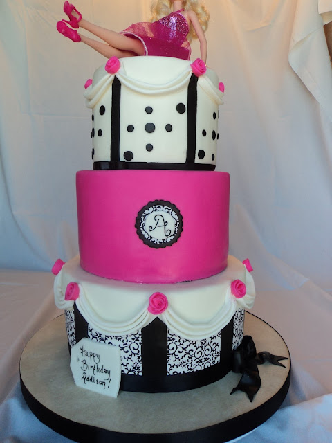 Delectable Cakes Hot Pink Black And White Barbie