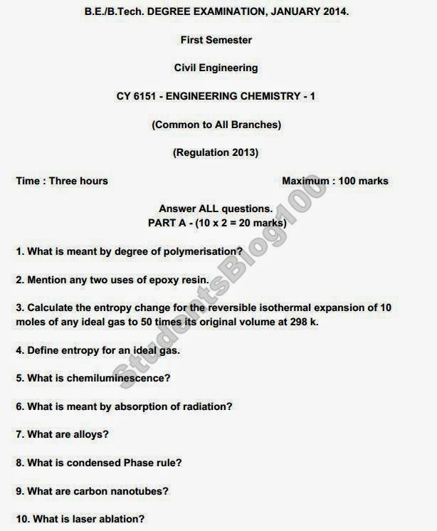 CY6151 ANNA UNIVERSITY CHEMISTRY-1 JAN-2014 QUESTION PAPER DOWNLOAD