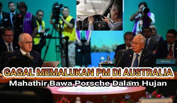 Lepas Gagalkan Memalukan PM Di Australia, Mahathir Bawa Porsche Dalam Hujan