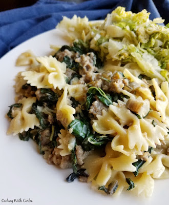 bowtie pasta with greens and sausage